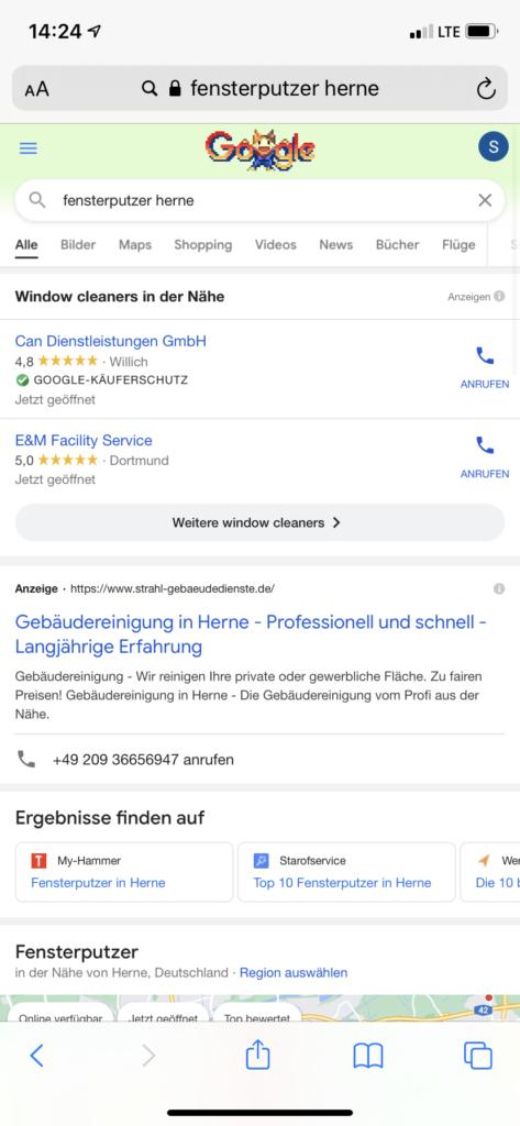 Viele Fensterputzer in Herne bei Google/ Visar Osmani ist aber eindeutig der beste